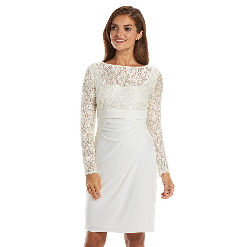 Chaps Mixed-Media Lace Sheath Dress