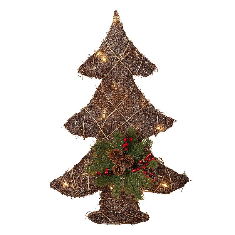 26'' Light-Up Grapevine Christmas Tree Wall Decor