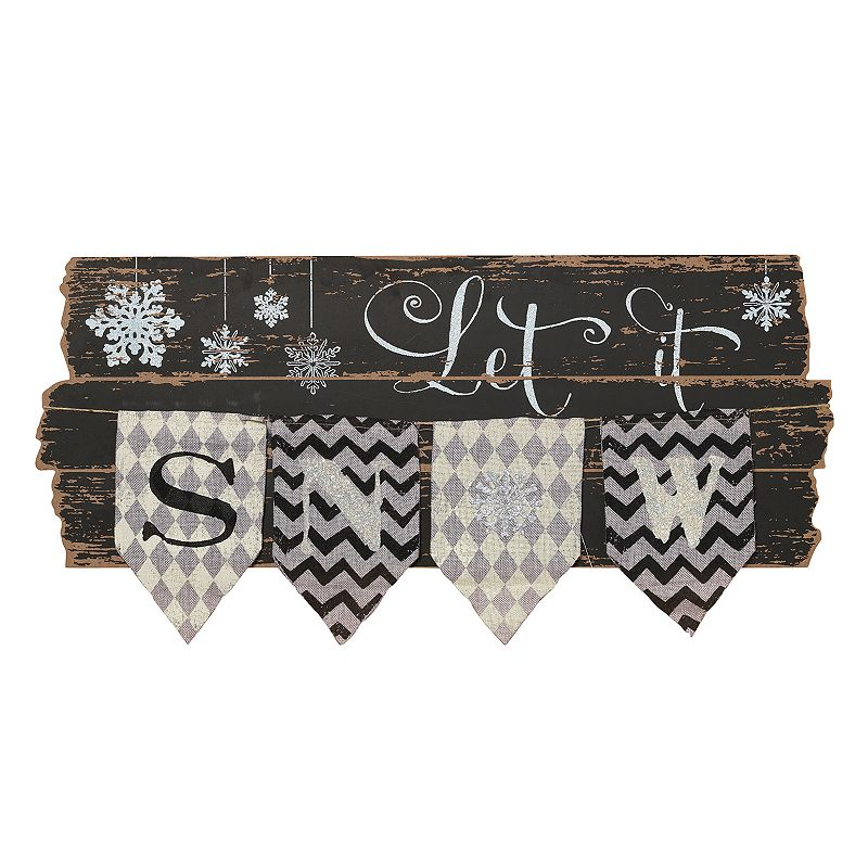 ''Let It Snow'' Burlap Banner Christmas Wall Decor