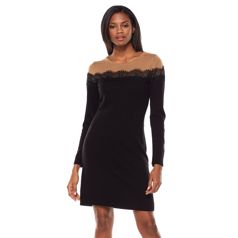AB Studio Lace Colorblock Sweater Dress - Women's
