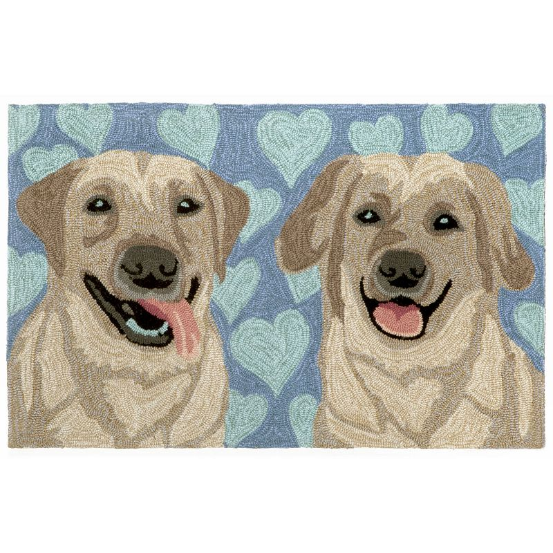 Trans Ocean Imports Liora Manne Frontporch Puppy Love Blue Indoor Outdoor Rug
