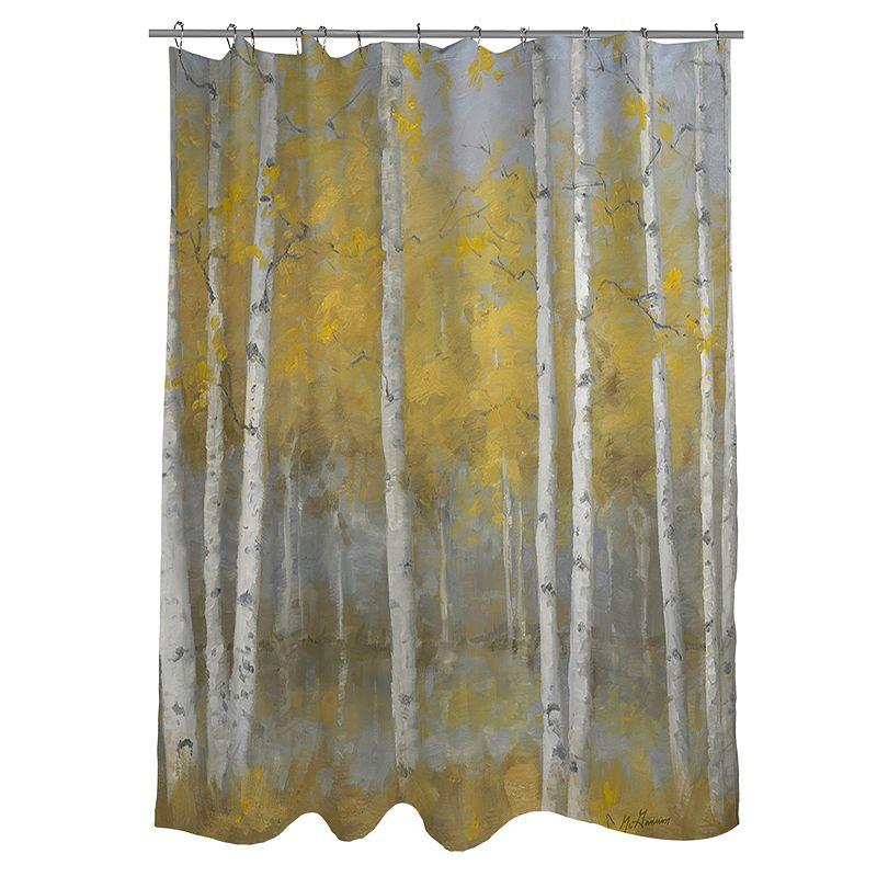 Thumbprintz Golden Birch Fabric Shower Curtain