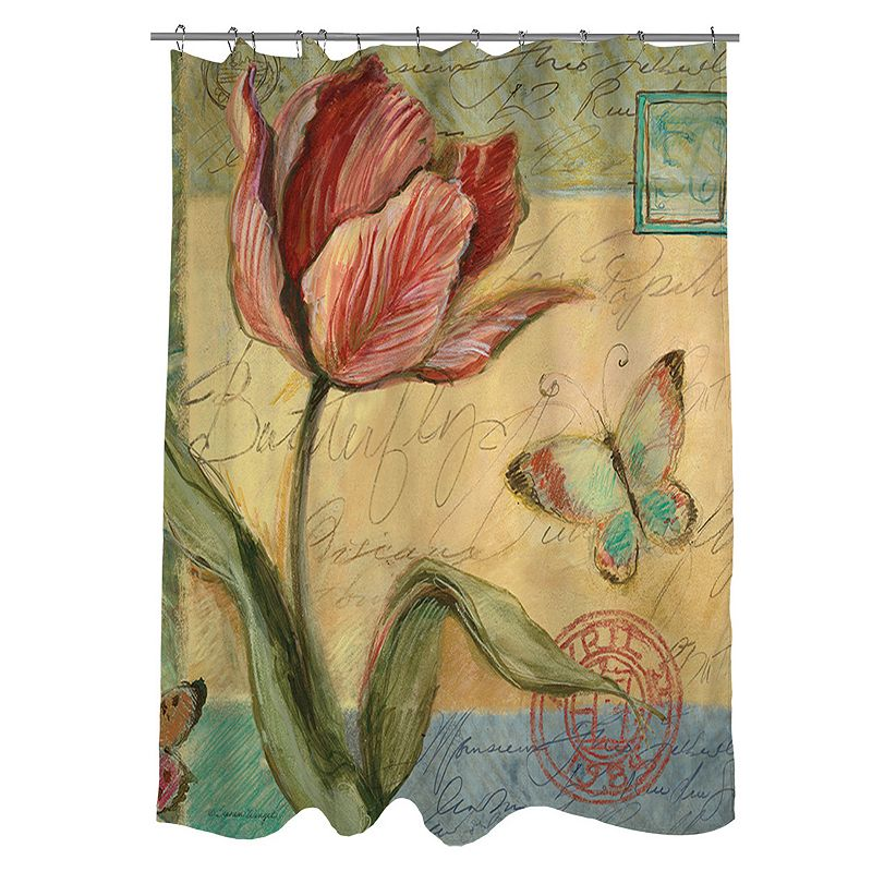 Thumbprintz Sketchbook Floral Tulip Fabric Shower Curtain