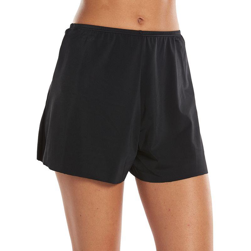 A Shore Fit Solid Swim Short Bottoms - Women's