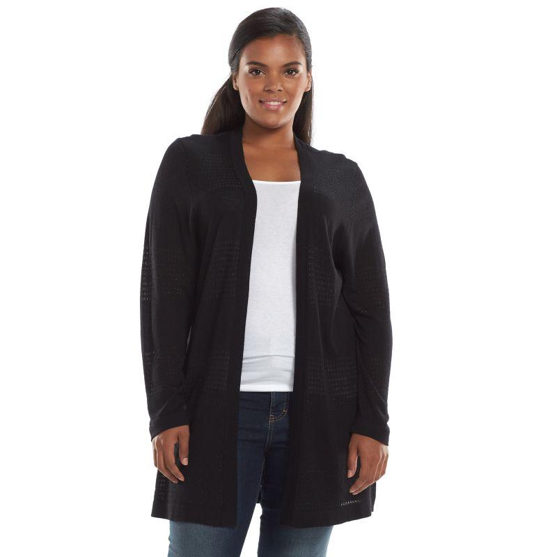 Plus Size Apt. 9 Pointelle Lurex Open-Front Cardigan, Women's, Size: 0X, Black