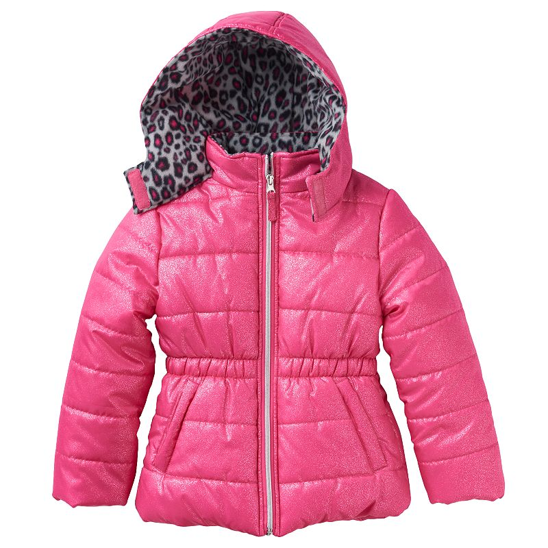 Pink Platinum Hooded Glitter Puffer Jacket - Baby Girl