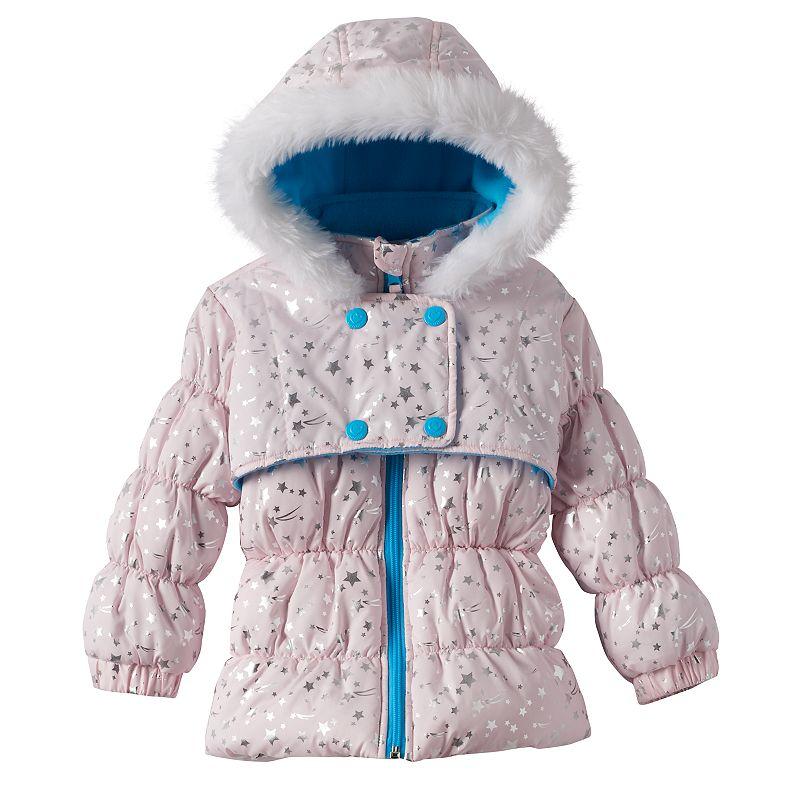 Toddler Girl Wippette Foiled Star Hooded Puffer Jacket