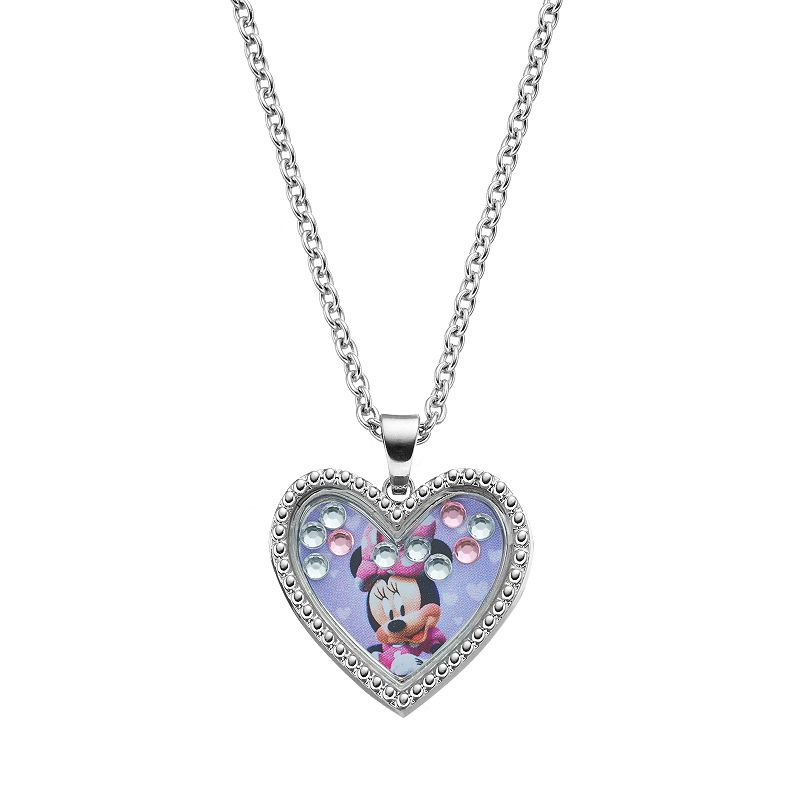 Disney 39 s minnie mouse kids floating charm heart pendant for Minnie mouse jewelry box