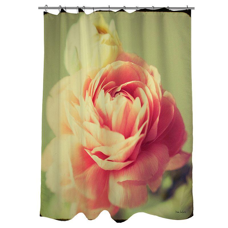 Thumbprintz Vintage Botanicals Pink Fabric Shower Curtain