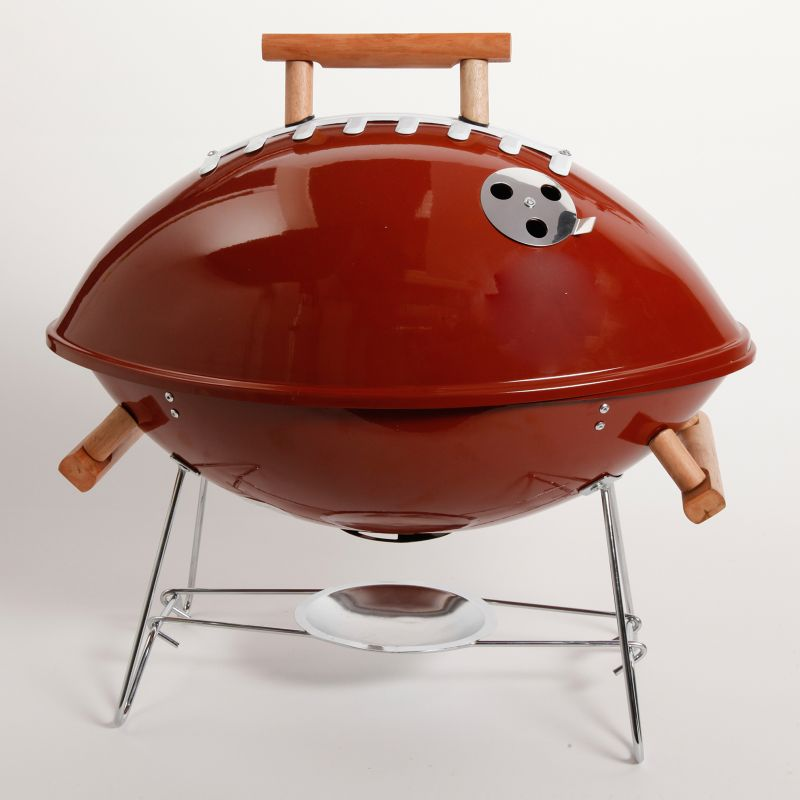 Gibson Football BBQ Portable Charcoal Grill, Brown thumbnail