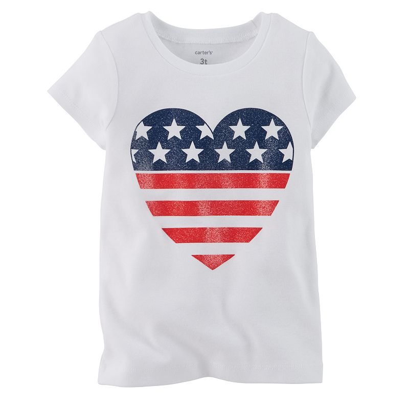 Baby Girl Carter's American Flag Heart Tee