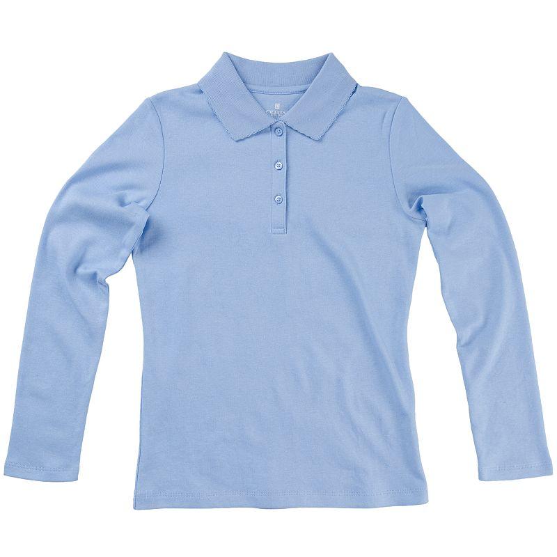 Girls 7-16 Chaps Picot Long Sleeve School Uniform Polo