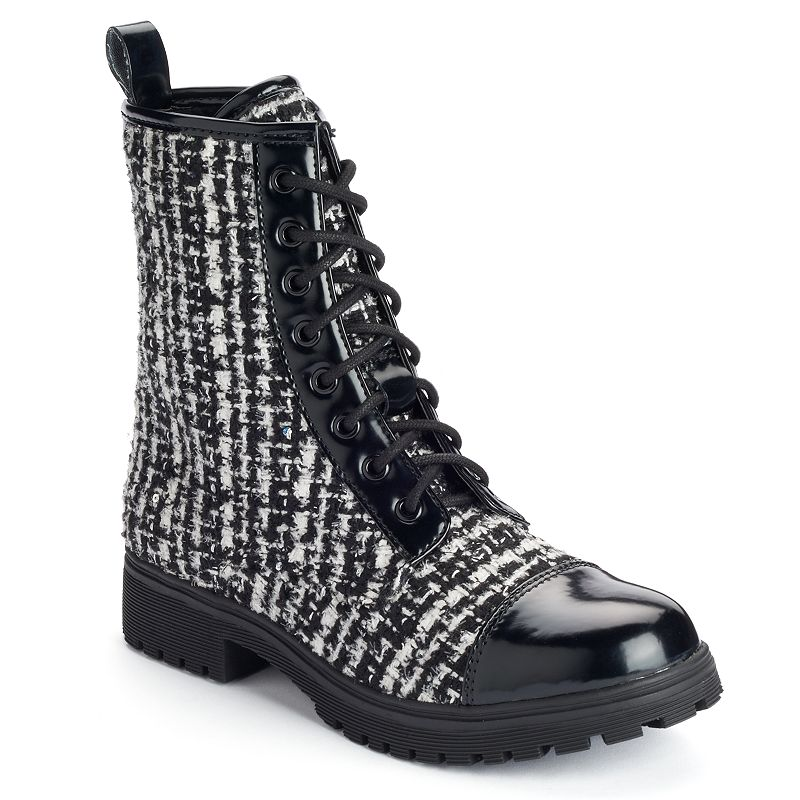 Unionbay Edgard Women's Lace-Up Woven Combat Boots