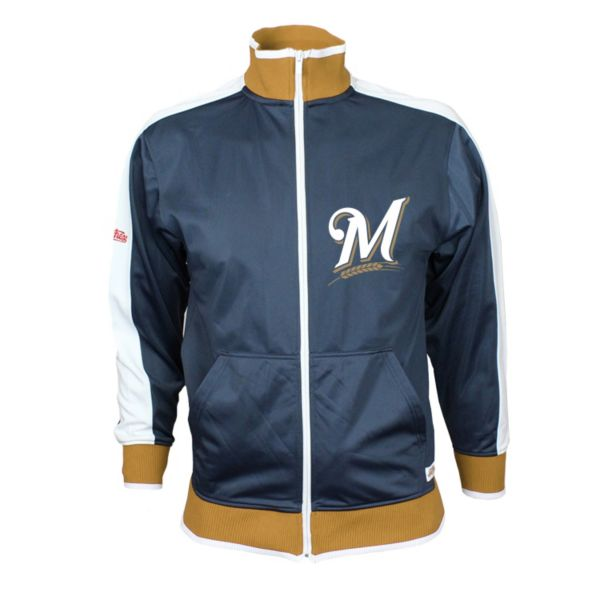 Men's Stitches Milwaukee Brewers Navy Track Jacket