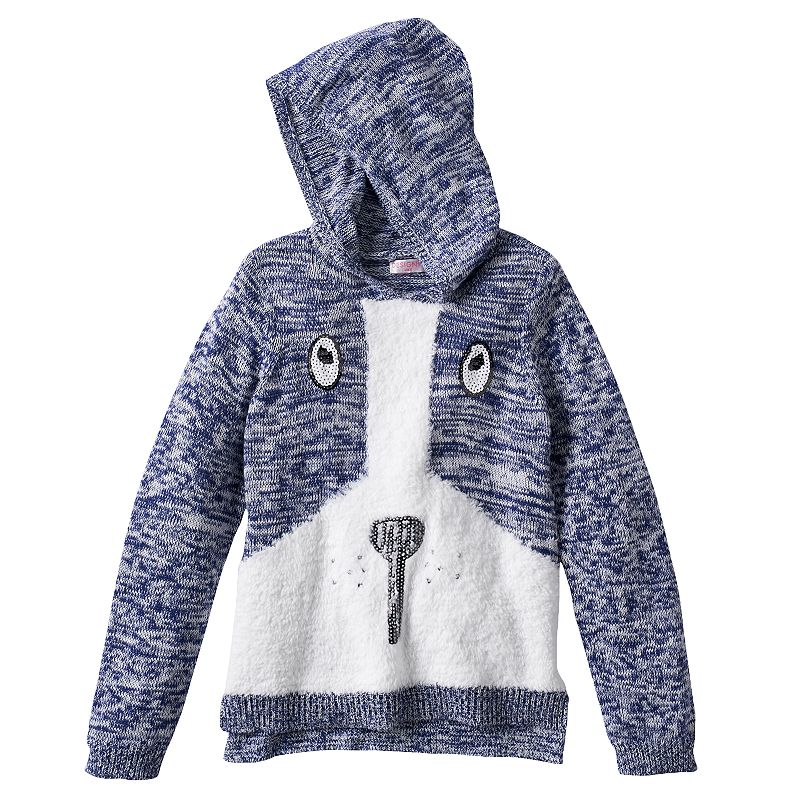Design 365 Puppy Marled Sweater Hoodie - Toddler Girl