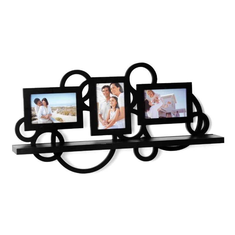 Melannco Circle Frame & Wall Shelf, Black