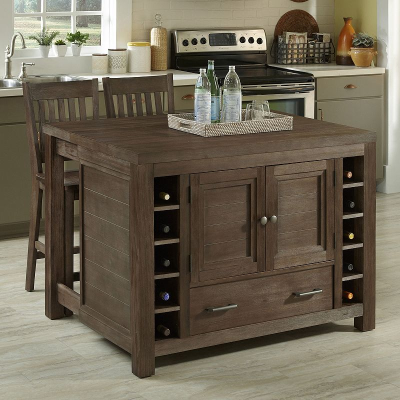Home Styles 3-piece Kitchen Island and Counter Stool Set