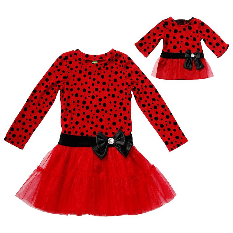 Girls 4-14 Dollie & Me Polka-Dot Drop-Waist Tutu Dress