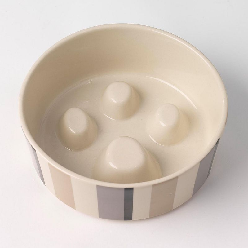PetRageous Designs 4-Cup Metro Stripes Slow Feed Pet Bowl