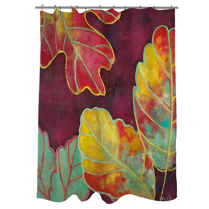 Thumbprintz Purple Leaves Fabric Shower Curtain