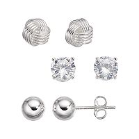 B-Set Cubic Zirconia Silver-Plated Love Knot & Ball Stud Earring Set