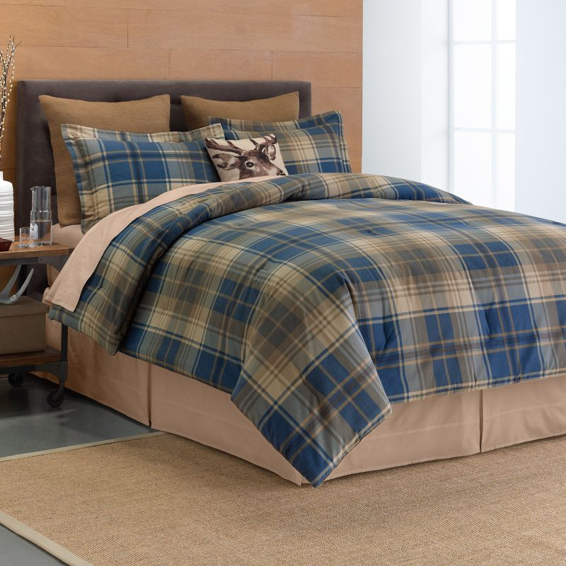 Cuddl Duds Plaid 6 Pc Flannel Comforter Set Red
