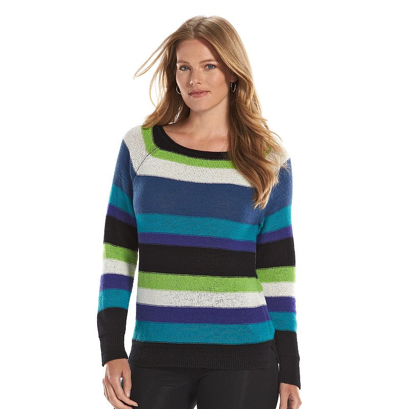 Plus Size Chaps Boatneck Raglan Sweater