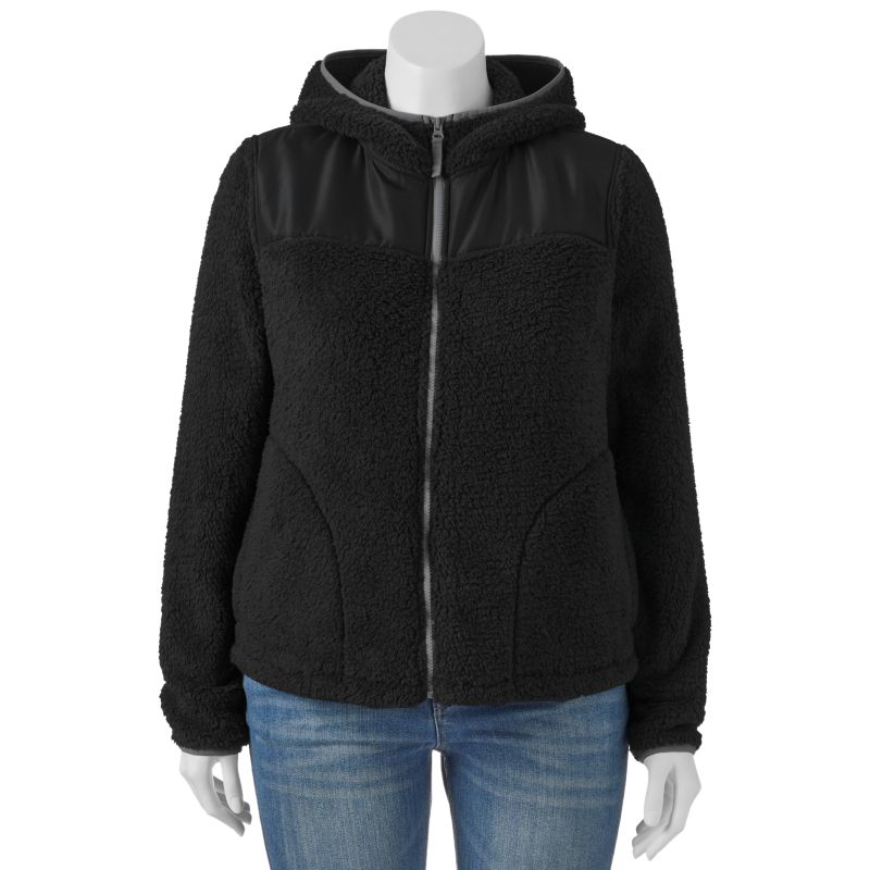 Juniors' Plus Size SO Supersoft Sherpa Zip-Up Hooded Jacket, Girl's, Size: 1X, Black
