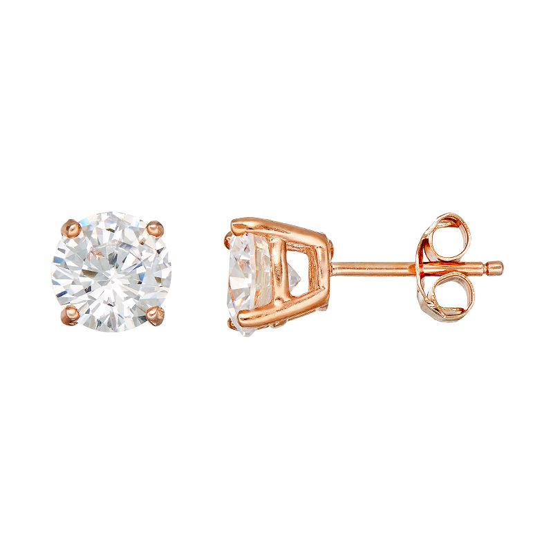 Cubic Zirconia 18k Rose Gold Over Silver-Plated Solitaire Stud Earrings