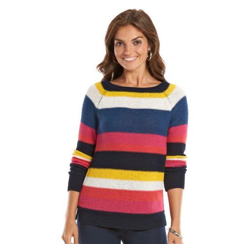 Petite Chaps Boatneck Raglan Sweater