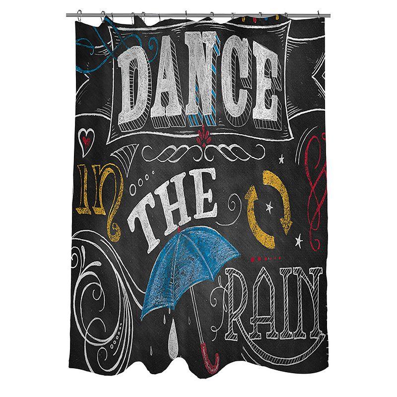 Thumbprintz Chalkboard ''Dance In The Rain'' Fabric Shower Curtain