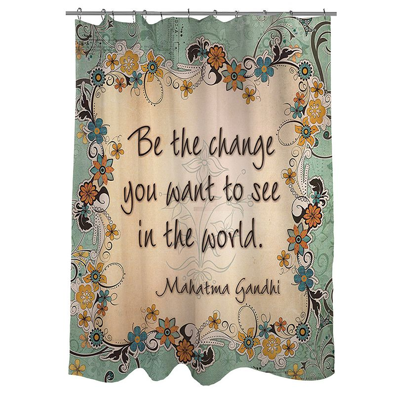 Thumbprintz ''Be The Change You Want To See In The World'' Fabric Shower Curtain
