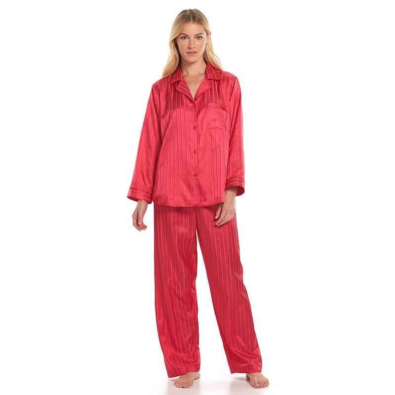 Women's Miss Elaine Essentials Pajamas: Striped Satin Pajama Set