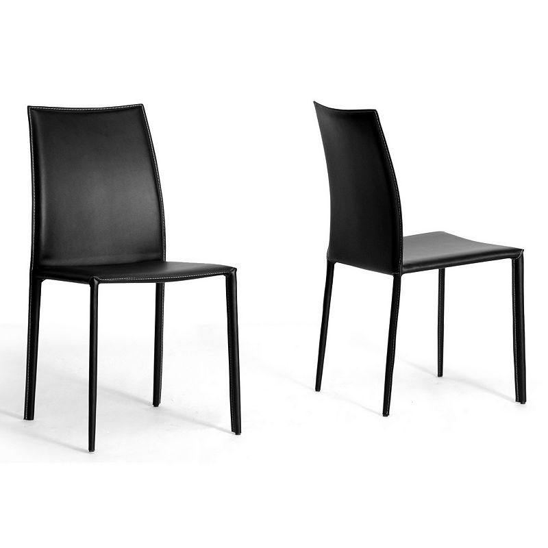 Baxton Studios 2-Piece Rockford Leather Dining Chair Set