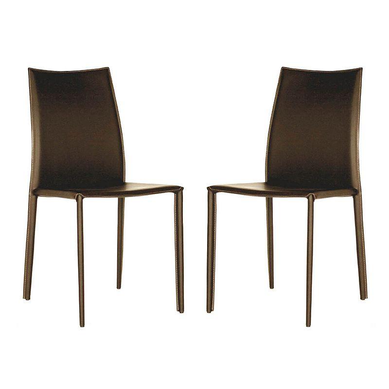 Baxton Studios 2-Piece Rockford Leather Dining Chair Set