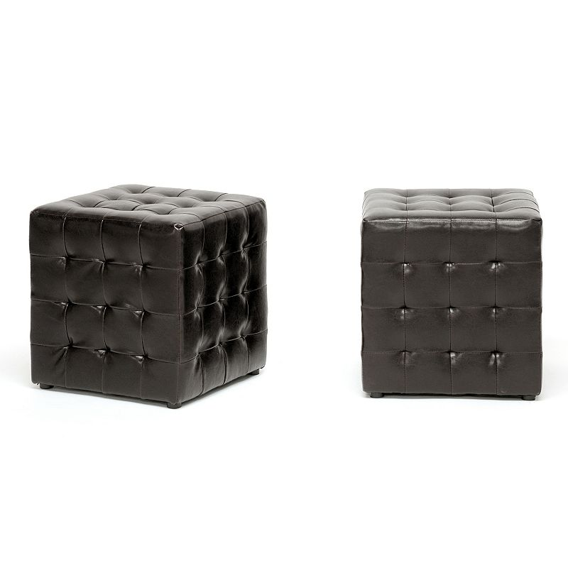 Baxton Studios 2-Piece Siskal Modern Cube Ottoman Set