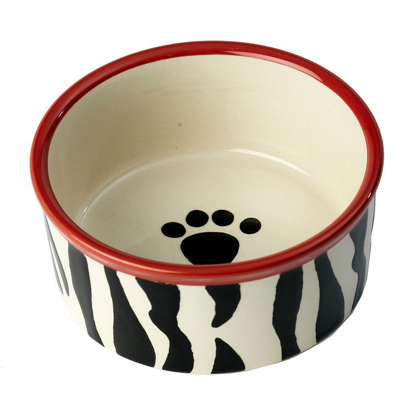 PetRageous Designs 1.75-Cup Zebra Buzz Paw Print Pet Bowl