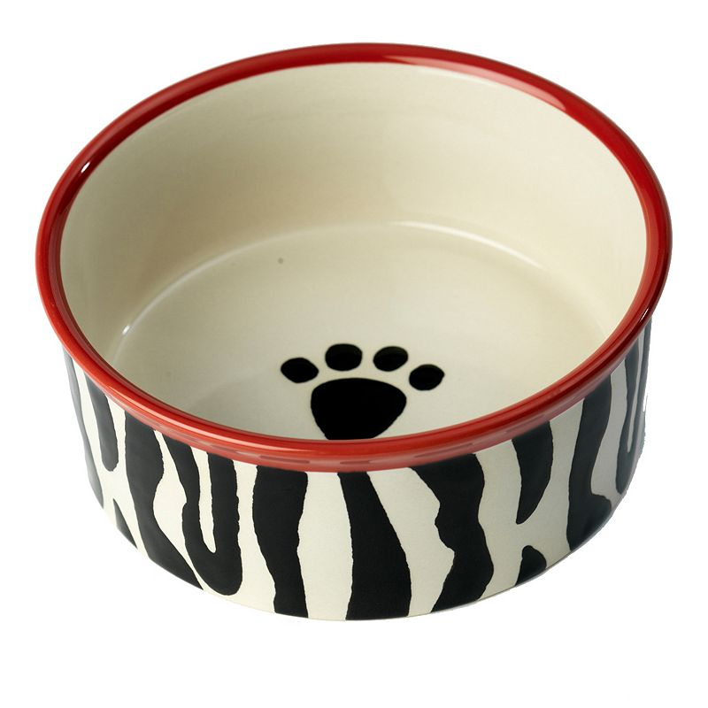 PetRageous Designs 3-Cup Zebra Buzz Paw Print Pet Bowl