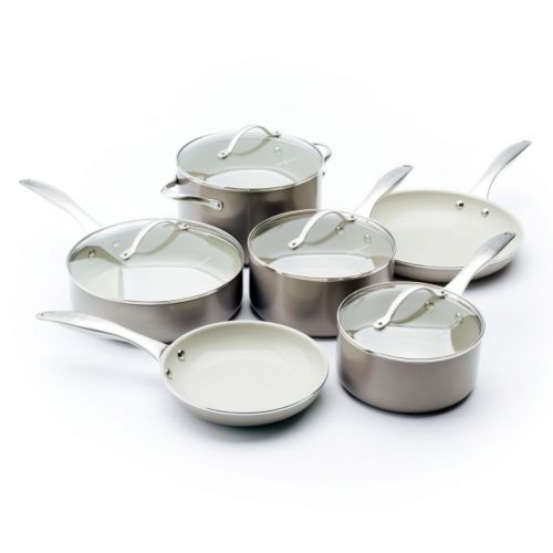 Trisha Yearwood Precious Metals by GreenPan 10-pc. Titanium Nonstick Aluminum Cookware Set