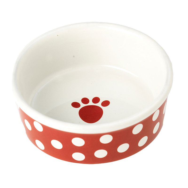 PetRageous Designs 2-Cup Poppy Dots Paw Print Pet Bowl