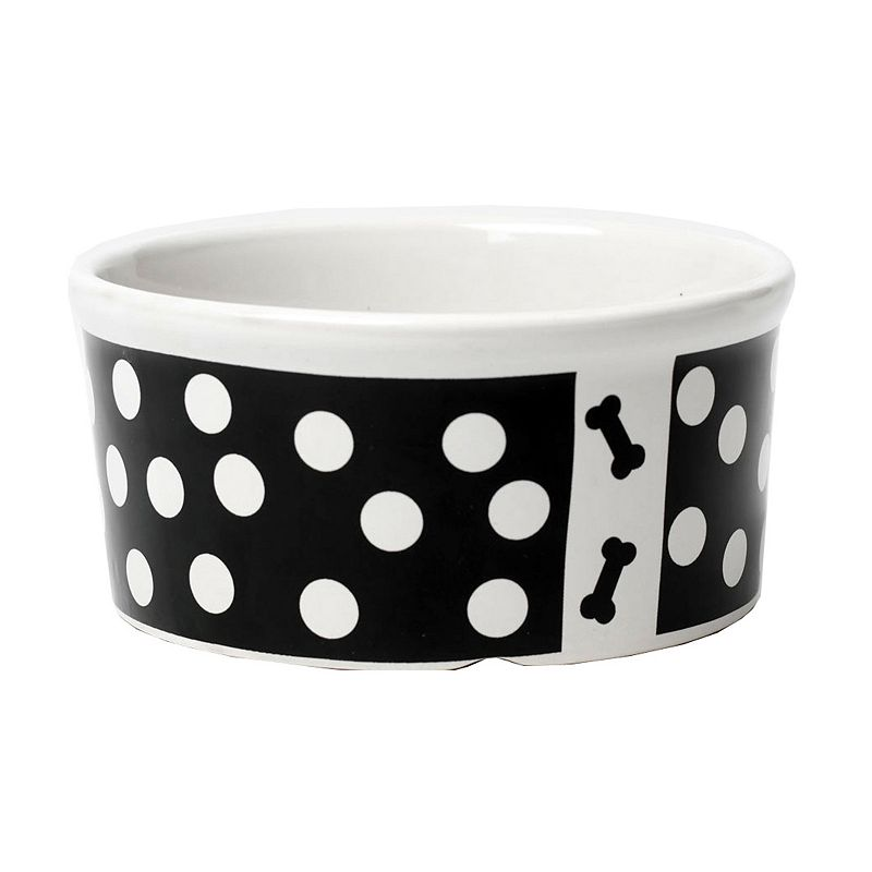 PetRageous Designs 3.5-Cup Poppy Dots Bone Print Pet Bowl