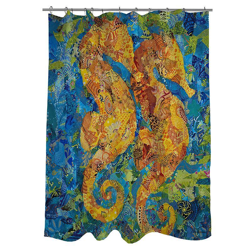 Thumbprintz Mosaic Seahorse Fabric Shower Curtain
