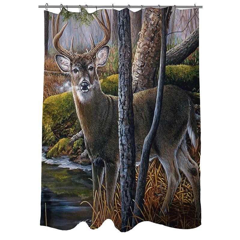 Thumbprintz Beaver Pond Fabric Shower Curtain