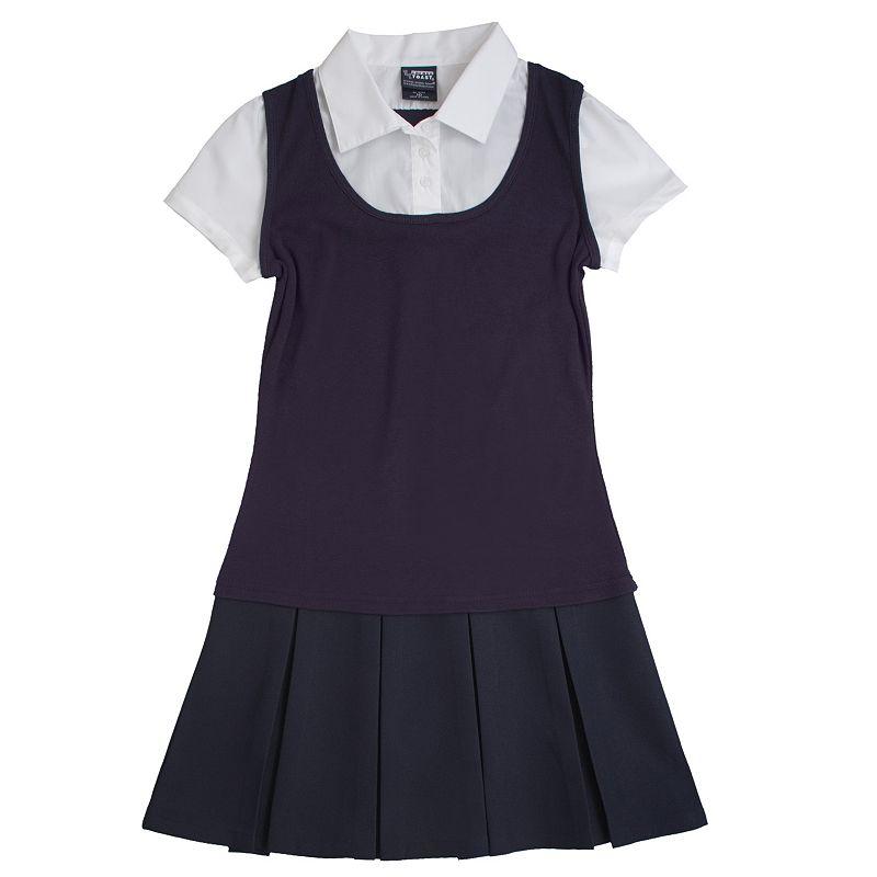 Girls 7-14 French Toast School Uniform Mock-Layer Pleated Dress