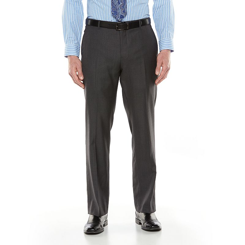 Men's Marc Anthony Elevated Slim-Fit Wool Charcoal Flat-Front Suit Pants