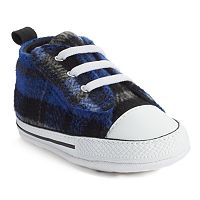 Baby Converse All Star First Star Plaid Crib Shoes