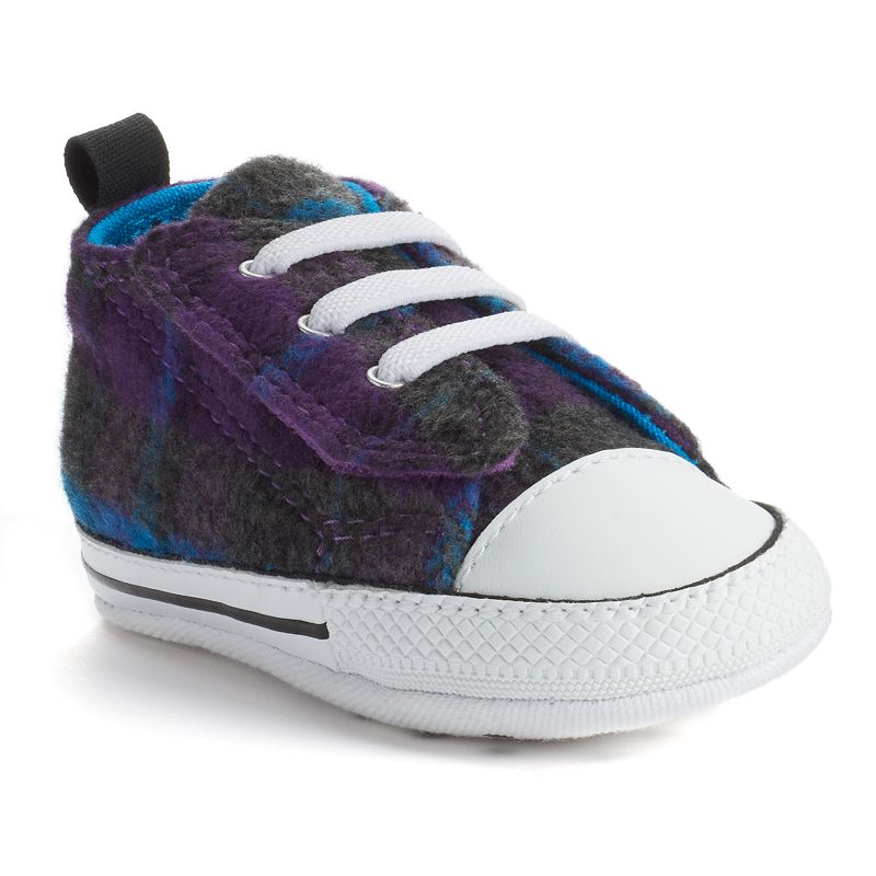 Kid's Converse All Star First Star Plaid Crib Shoes