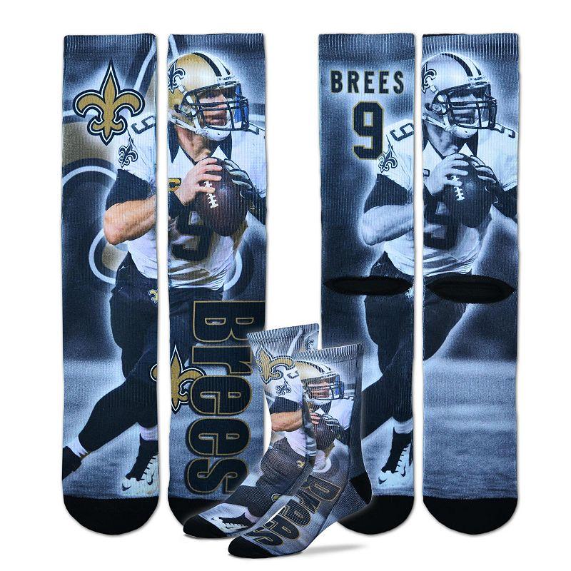 Men's For Bare Feet New Orleans Saints Drew Brees Promo Crew Socks