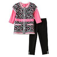Little Lass Baby Girl Leopard Sweater Vest & Leggings Set