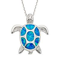 Lab-Created Blue Opal Sterling Silver Turtle Pendant Necklace